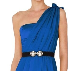 Blue belted one shoulder cocktail dress